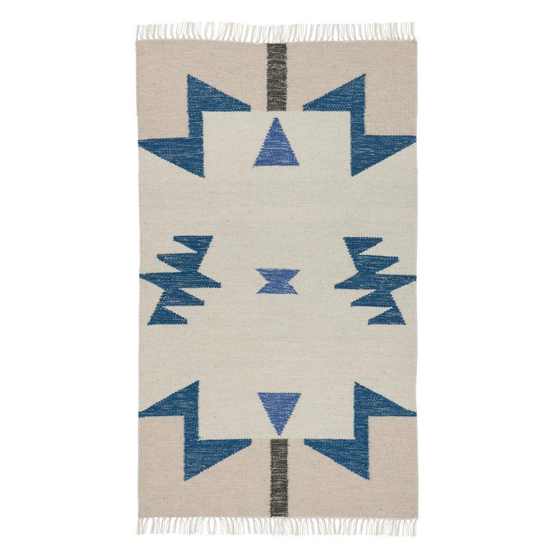 Kelim Rug Vloerkleed Blue Triangles Small - Ferm Living