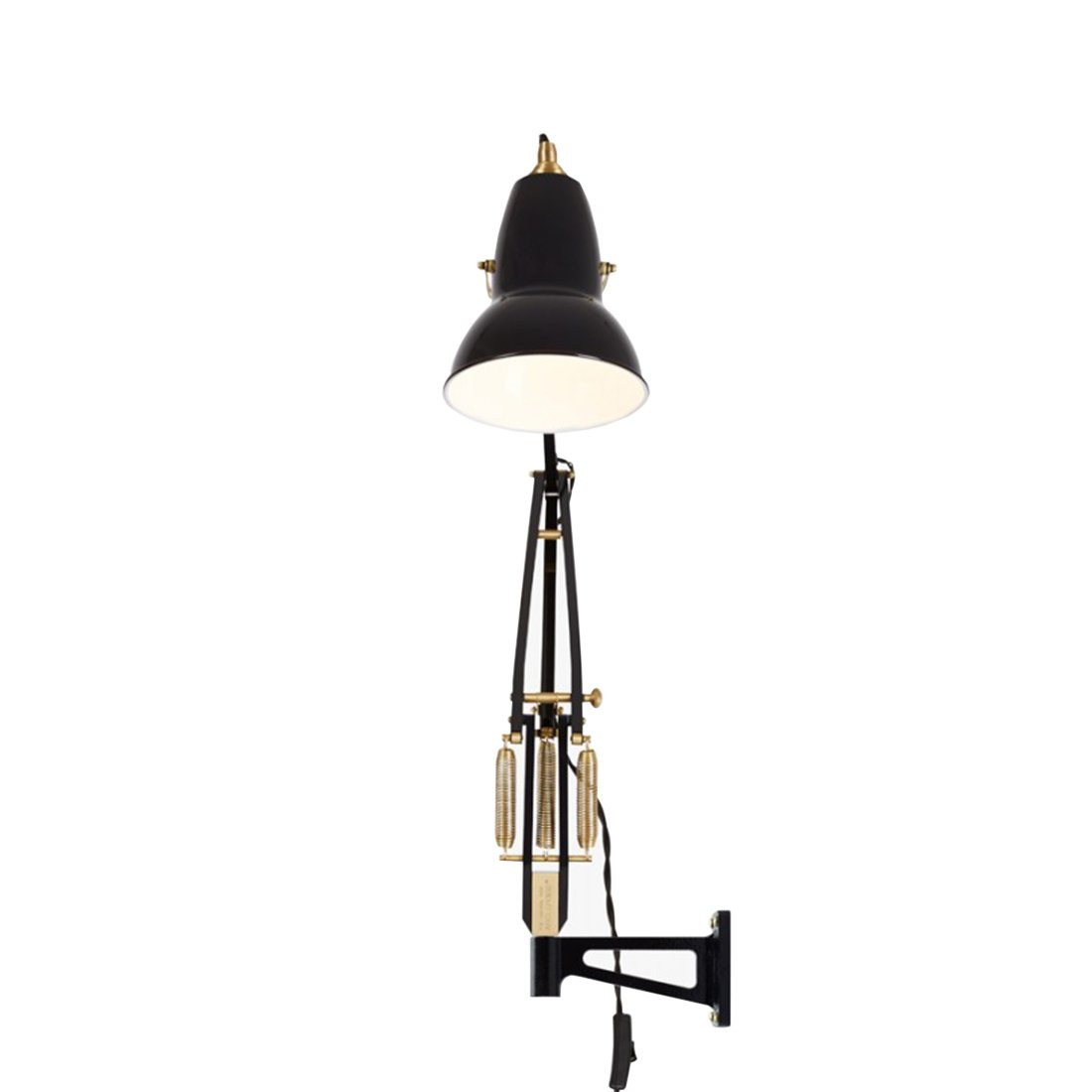 Anglepoise Original 1227 Brass Wall Mounted Wandlamp - Jet Black