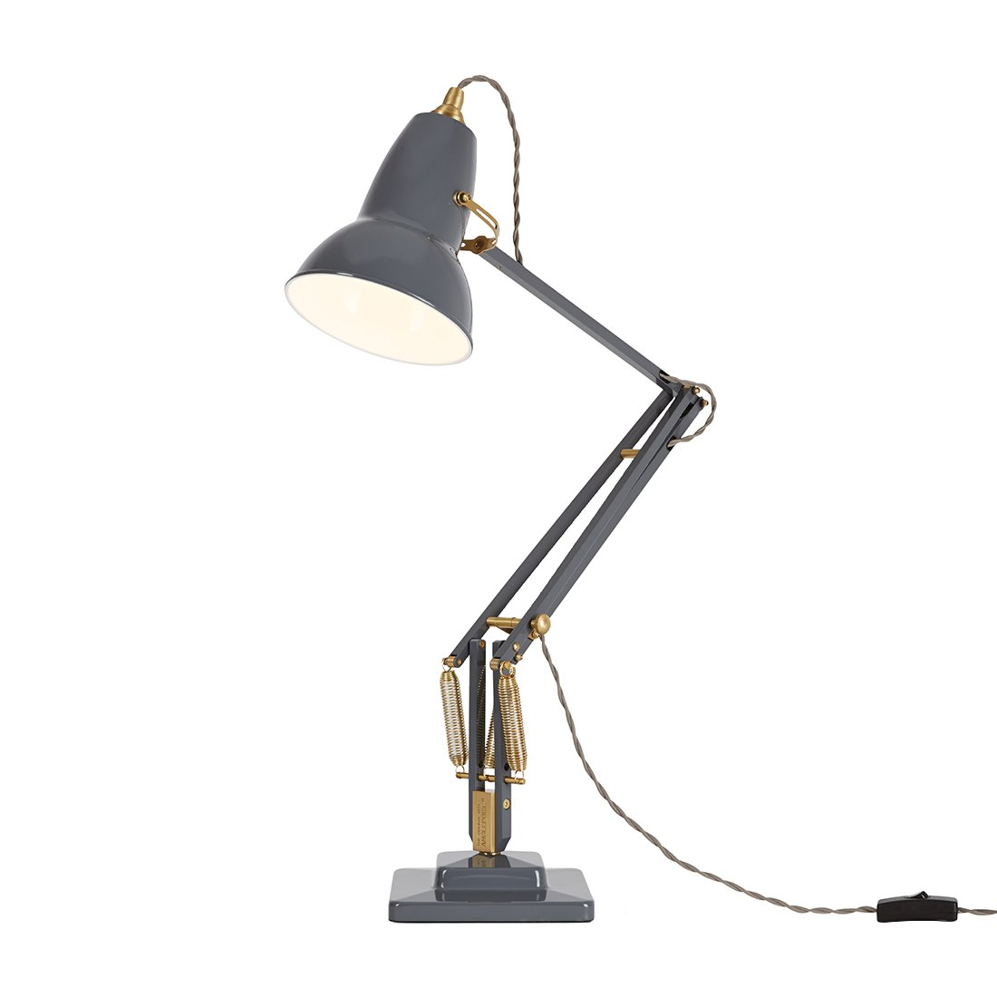 Anglepoise Original 1227 Brass Desk Lamp Elephant Grey Bureaulamp
