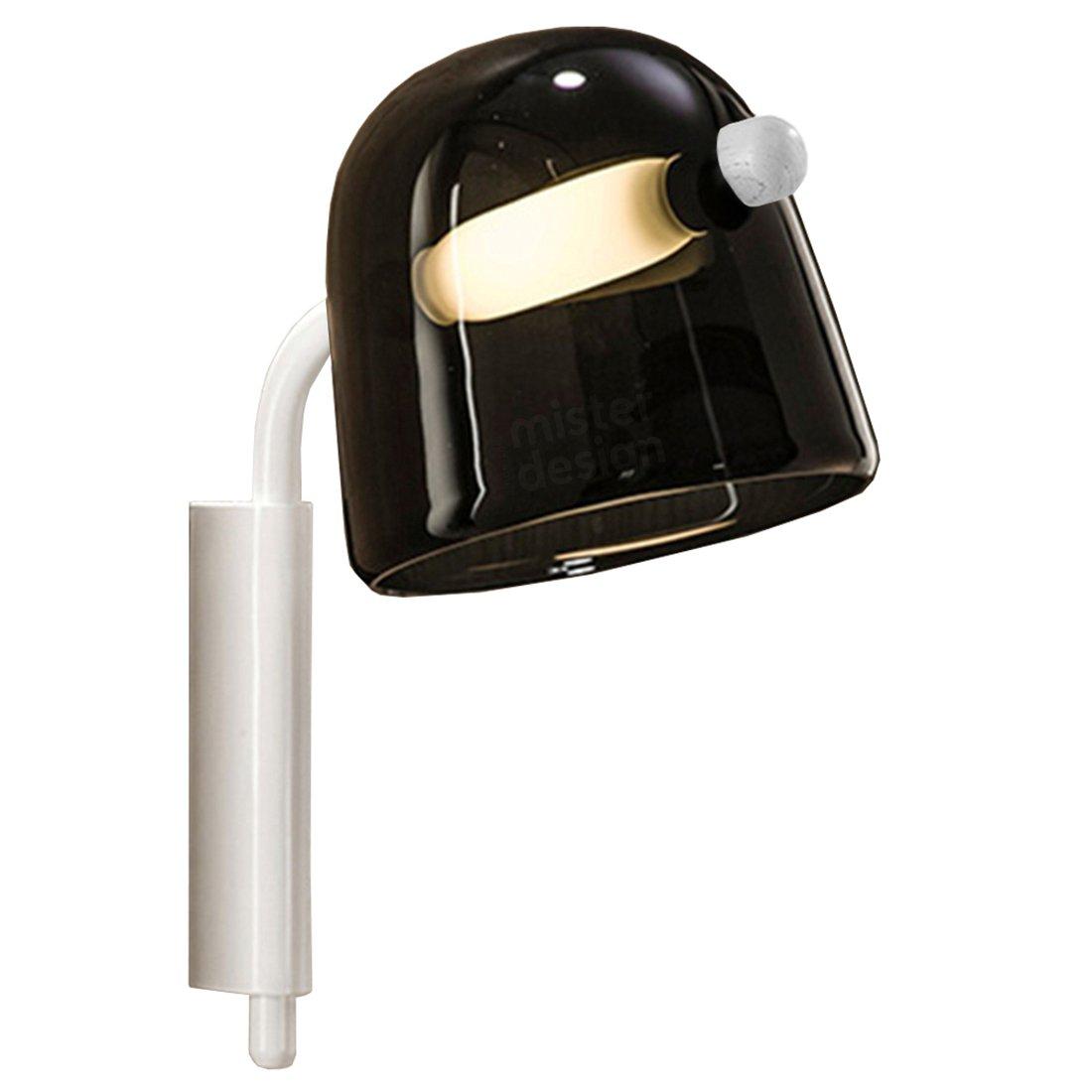 Brokis Mona Wandlamp Medium - Zwart Glas Witte Body