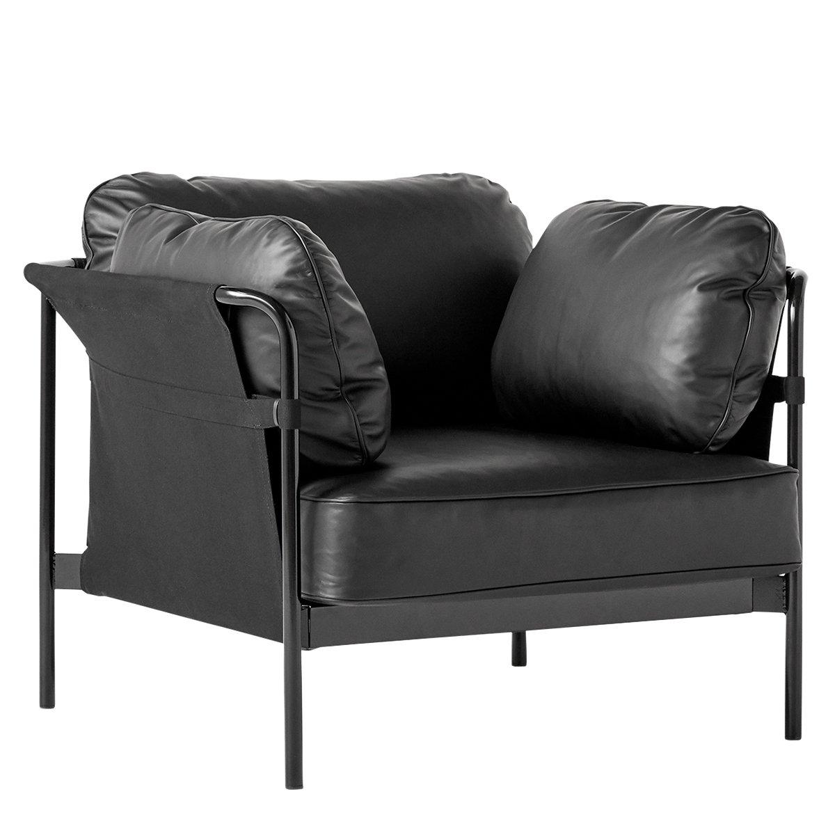 HAY Can Fauteuil - Zwart Frame - Zwart Canvas - Zwart Silk