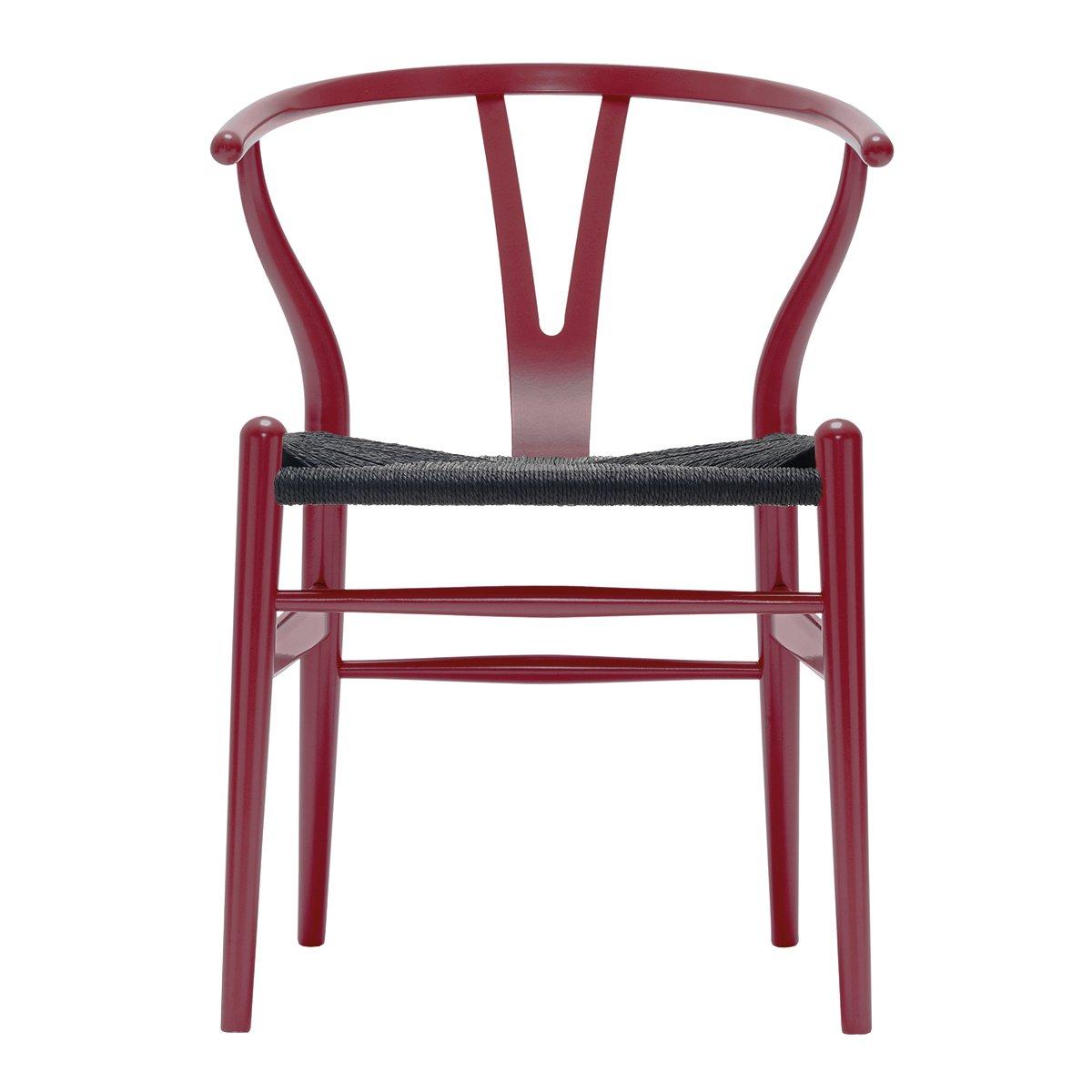 Carl Hansen & S�n Wishbone Stoel CH24 Beuken - Berry Red/Zwart