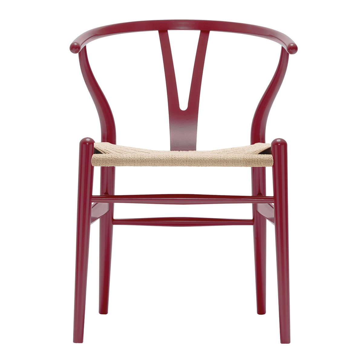 Carl Hansen & S�n Wishbone Stoel CH24 Beuken - Berry Red/Naturel