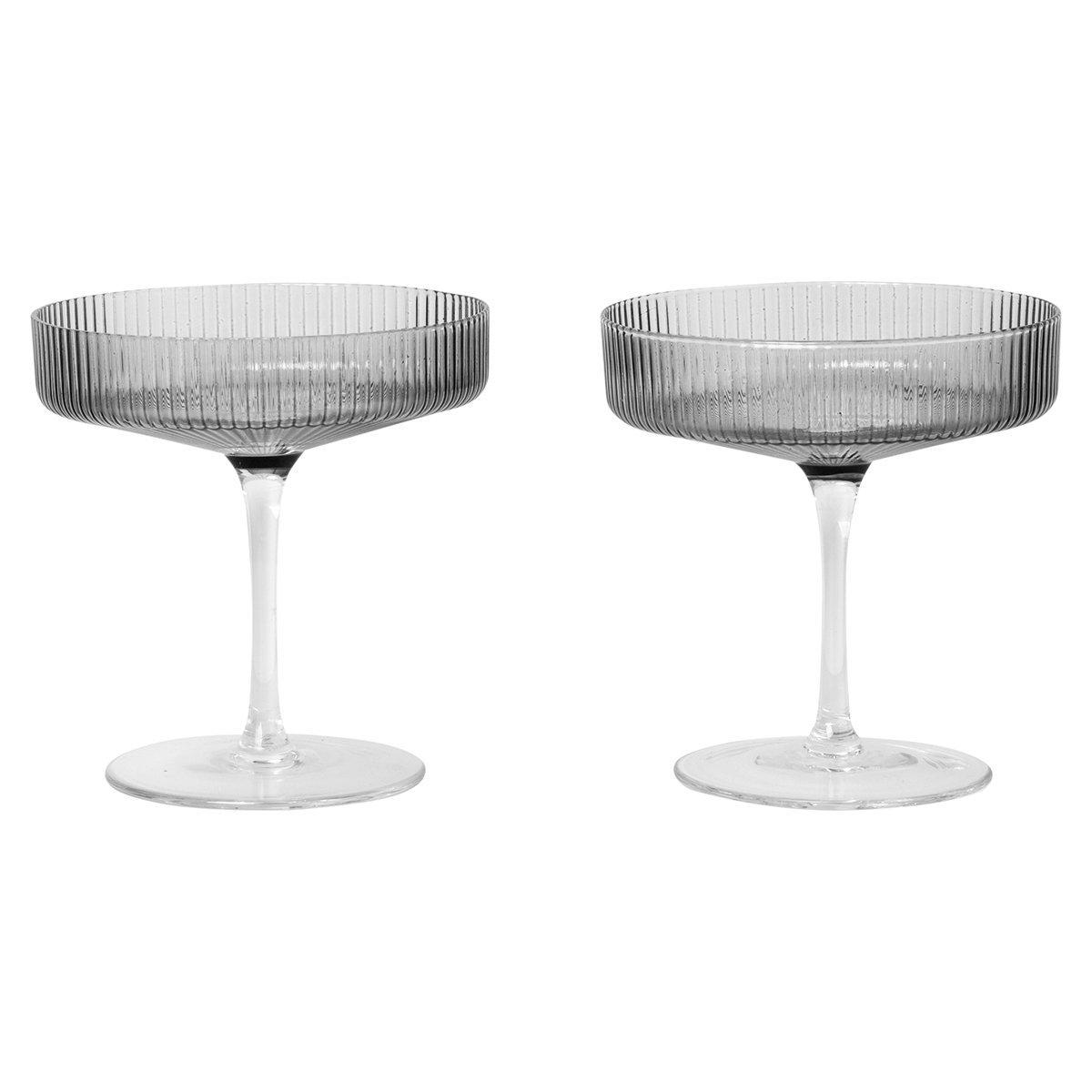 Ferm Living Ripple Champagneglas, set van 2 - Grijs Gerookt