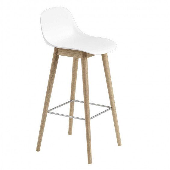 Muuto Fiber Barkruk Wood Base Backrest