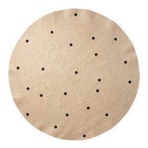 Jute Black Dots Vloerkleed Large