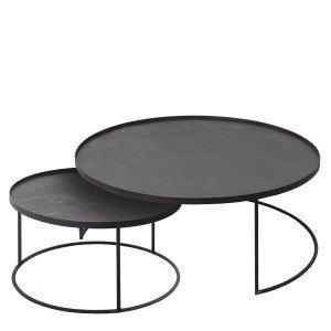 Ethnicraft Round Tray Table, set van 2