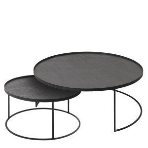 Ethnicraft Round Tray Table, set van 2