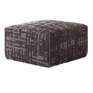 Gan Rugs Square Abstract Poef Charcoal Canevas