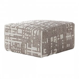 Gan Rugs Square Abstract Poef Silver Canevas