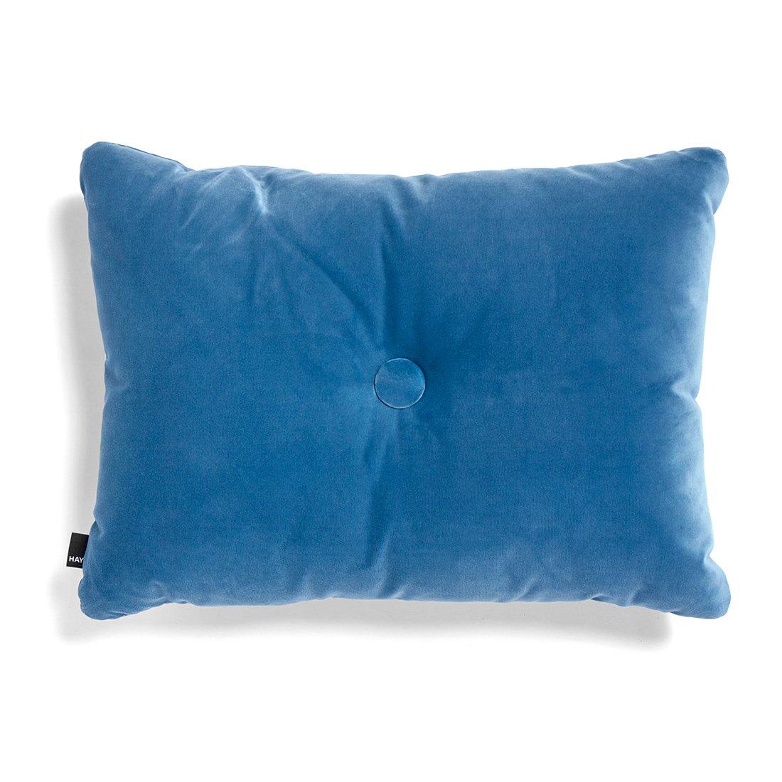 HAY Dot Cushion 1 Knoop Velours Kussen - Blauw