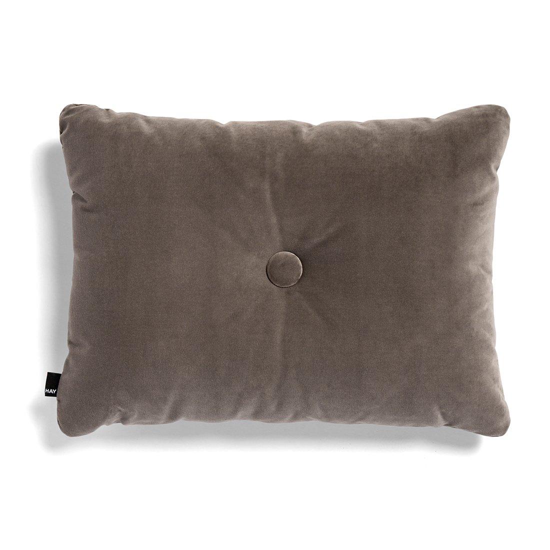 HAY Dot Cushion 1 Knoop Velours Kussen - Warmgrijs
