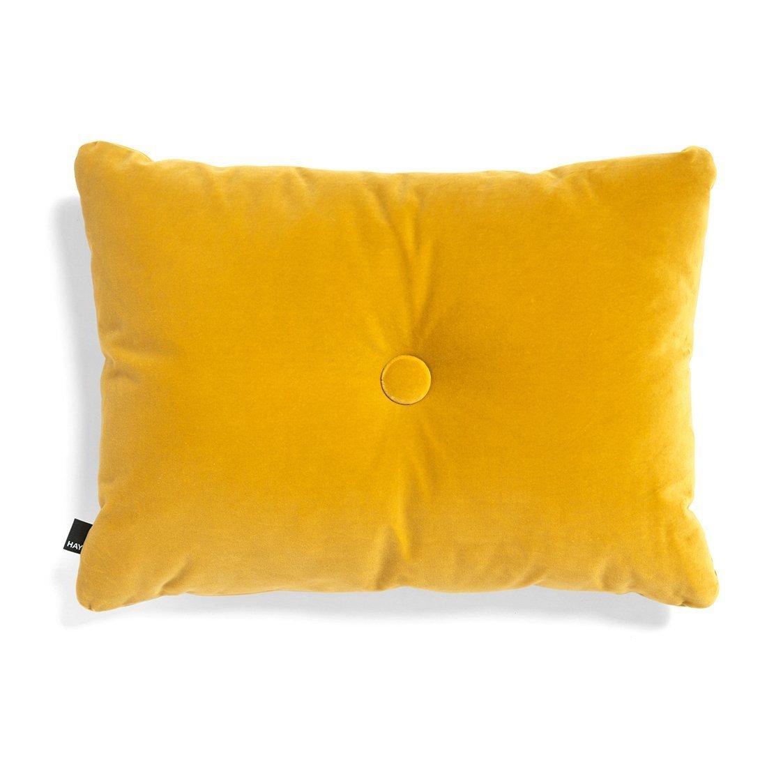 HAY Dot Cushion 1 Knoop Velours Kussen - Geel