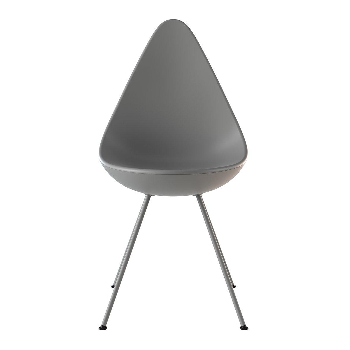Fritz Hansen Drop Chair - Grijs Gepoedercoate poten