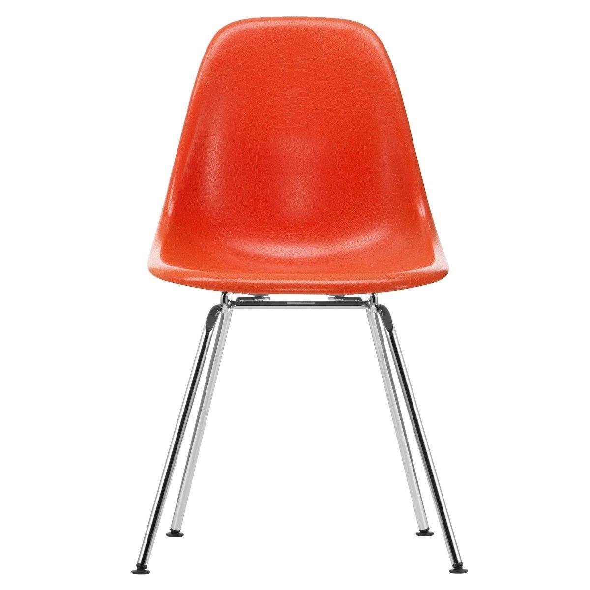 Vitra Eames Fiberglass Chair DSX - Red Orange/Chroom