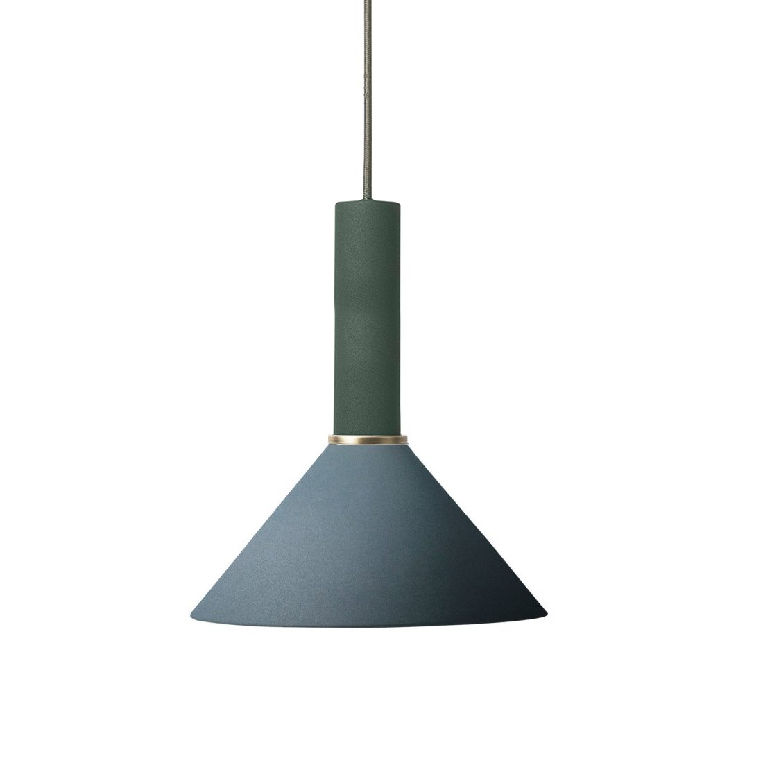 Ferm Living Collect Cone High Hanglamp Donkergroen Donkerblauw