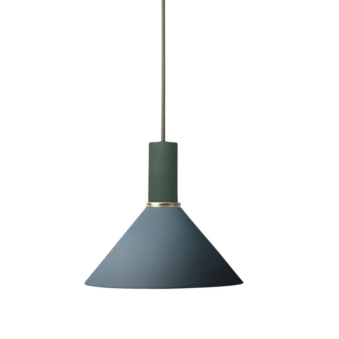 Ferm Living Collect Cone Low Hanglamp Donkergroen Donkerblauw