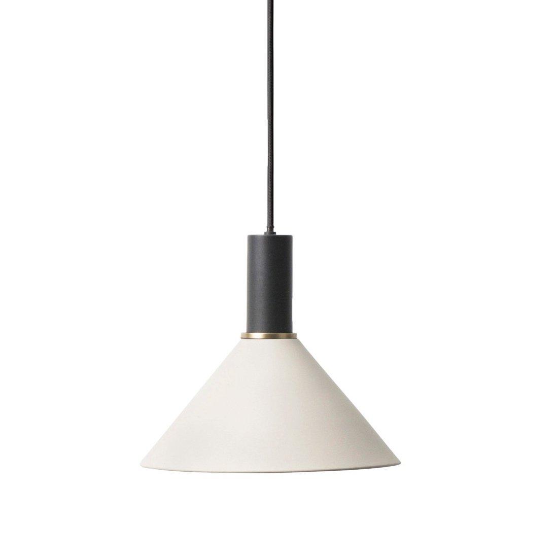 Ferm Living Collect Cone Low Hanglamp Zwart Lichtgrijs