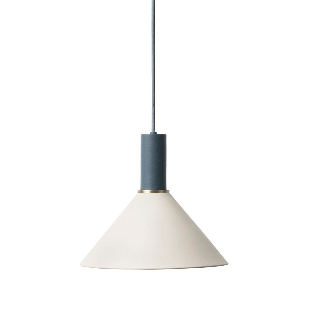 Ferm Living Collect Cone Low Hanglamp Donkerblauw Lichtgrijs