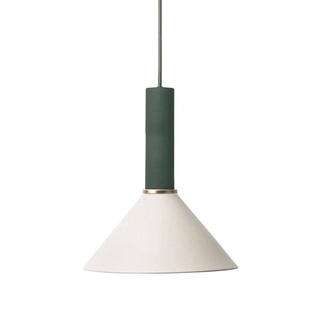 Ferm Living Collect Cone High Hanglamp Donkergroen Lichtgrijs