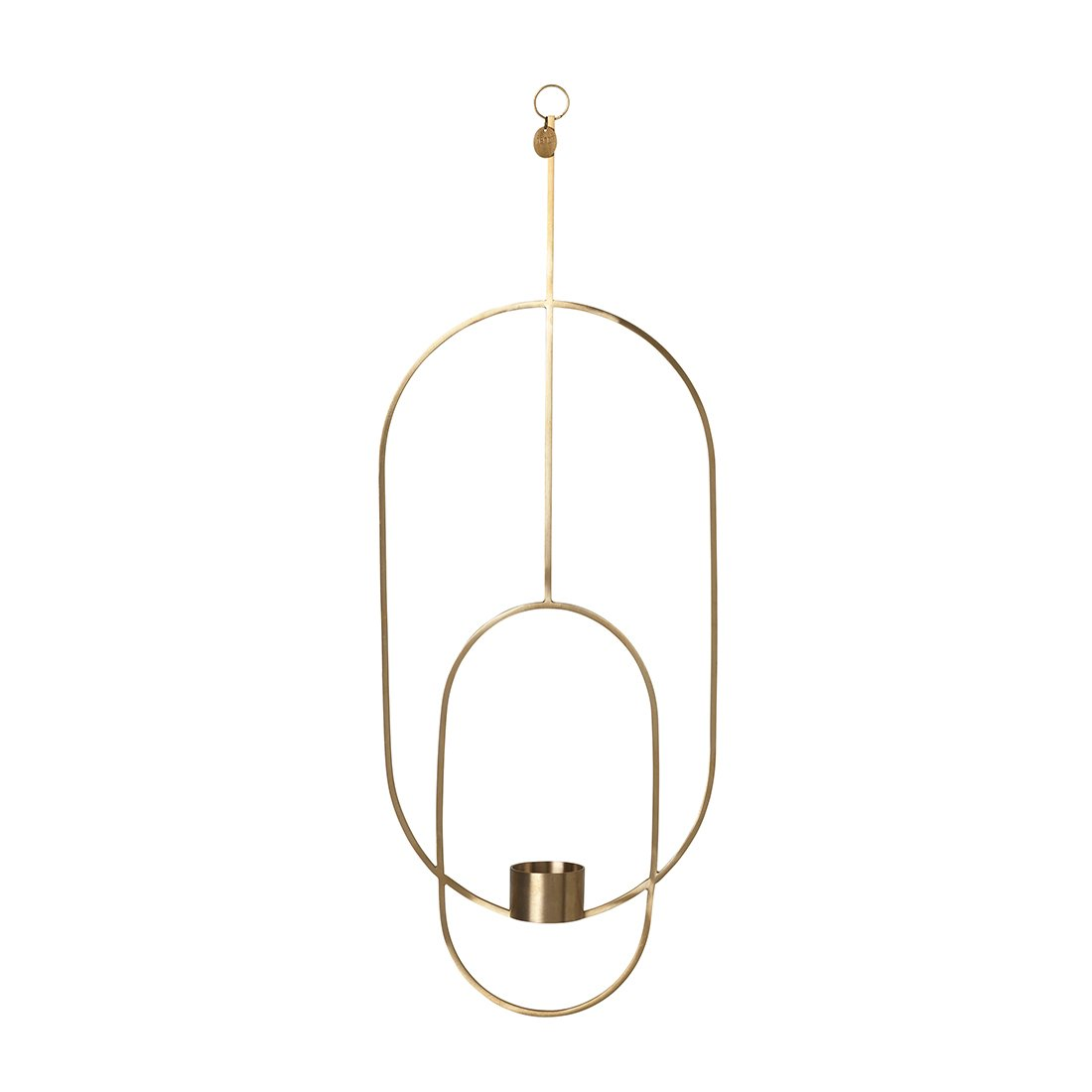 Ferm Living Hanging Tealight Deco Theelichthouder Ovaal Messing