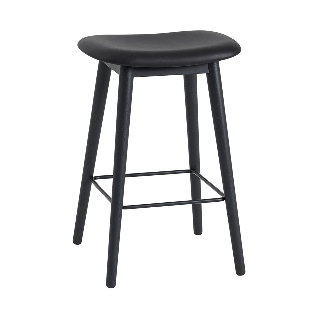 Muuto Fiber Barkruk Wood Base Black Refine Leather 65 cm.