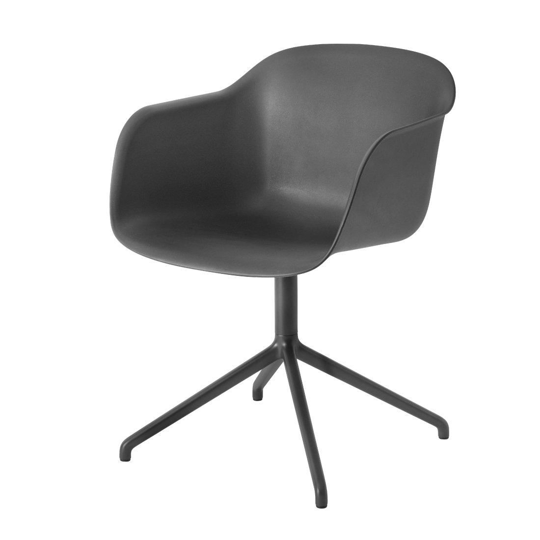 Muuto Fiber Chair Stoel, draaibaar Zwart