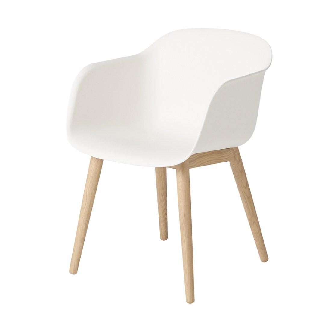 Muuto Fiber Chair Houten Poot Wit
