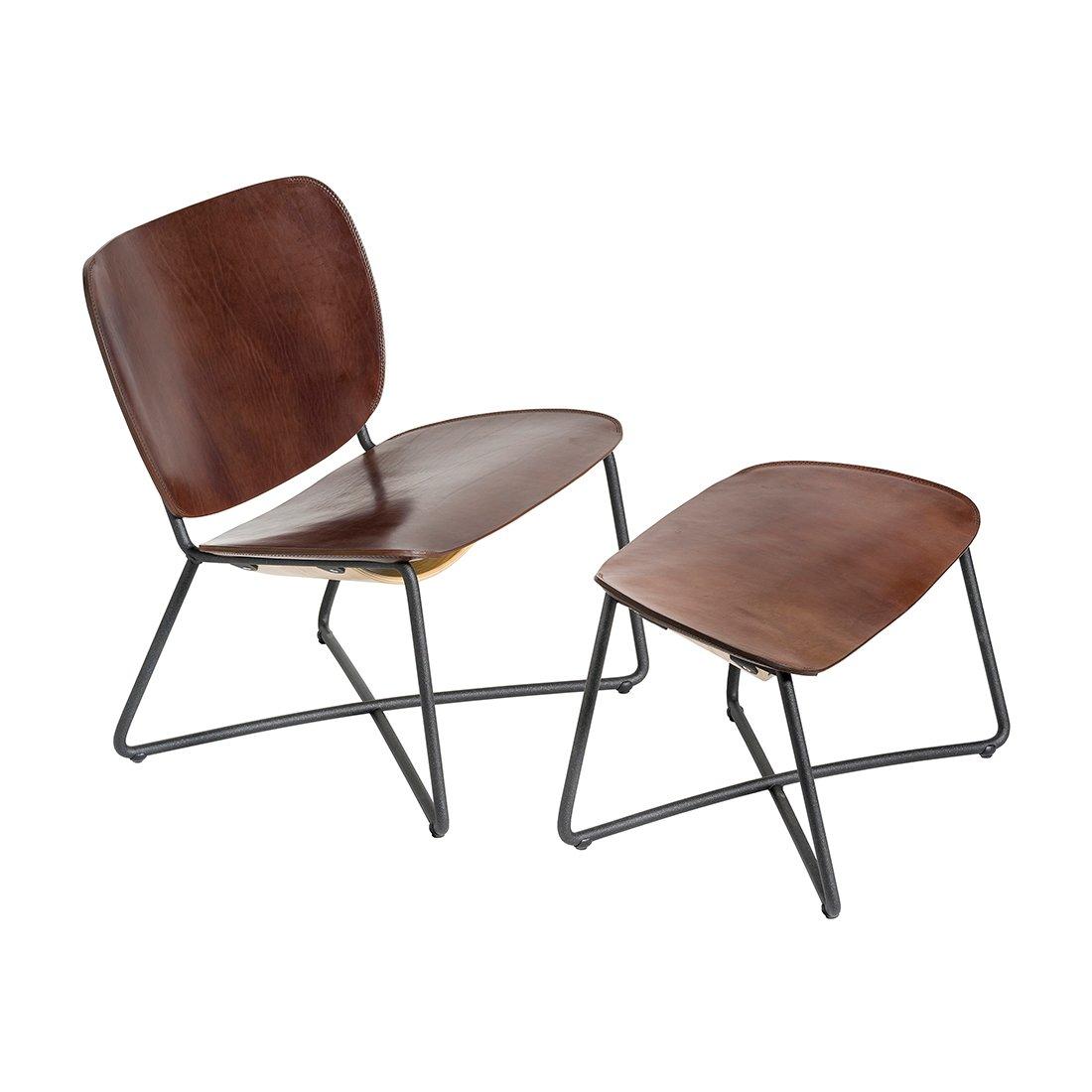Functionals Miller Loungechair & Ottoman Donkerbruin Leder Zwart Onderstel
