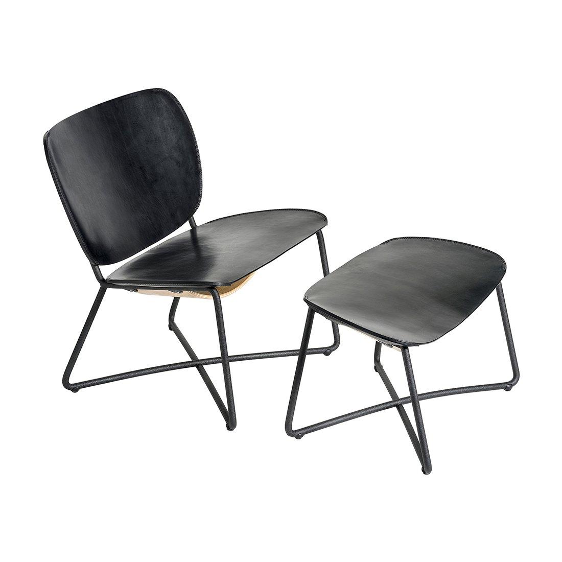 Functionals Miller Loungechair & Ottoman Zwart Leder Zwart Onderstel