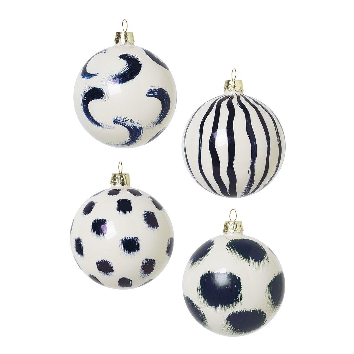 Ferm Living Handbeschilderde Kerstballen - Blauw