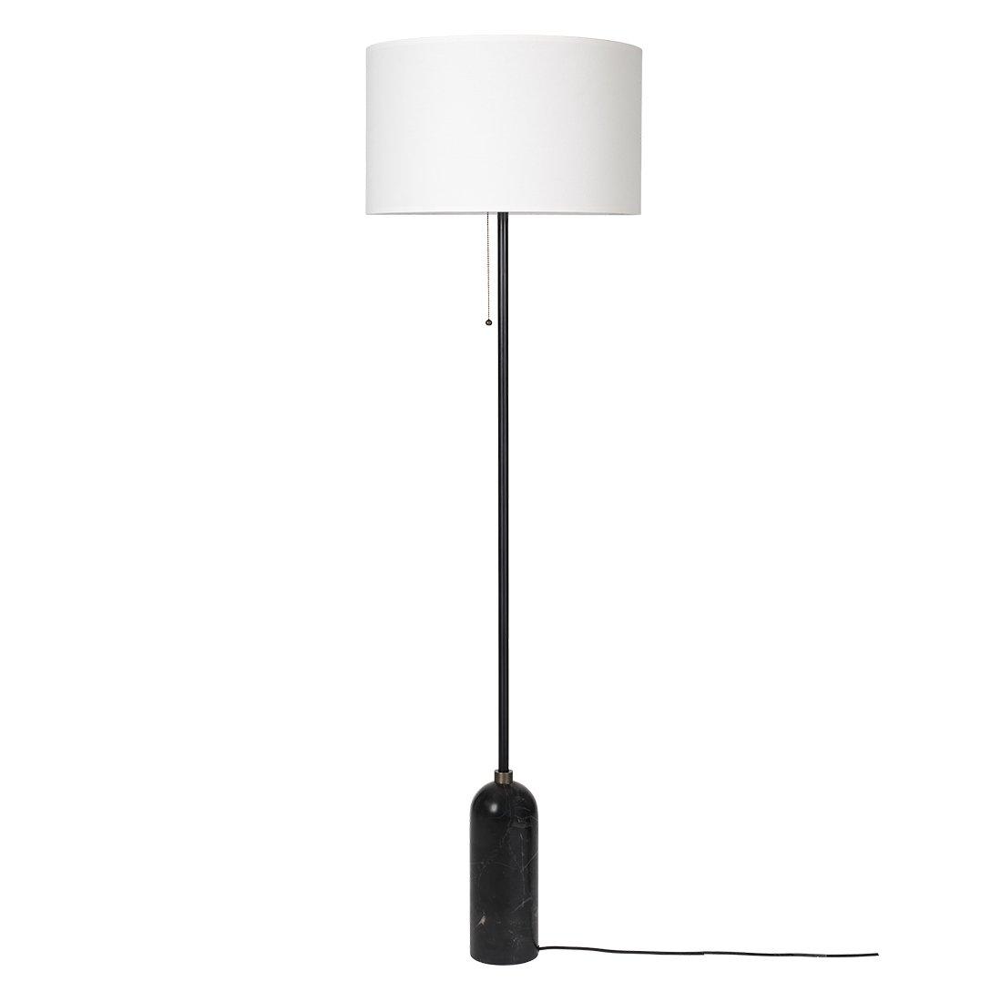 Gubi Gravity Vloerlamp Zwart Marmer - Witte Kap