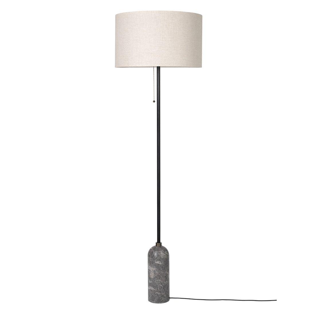Gubi Gravity Vloerlamp Grijs Marmer - Canvas Kap