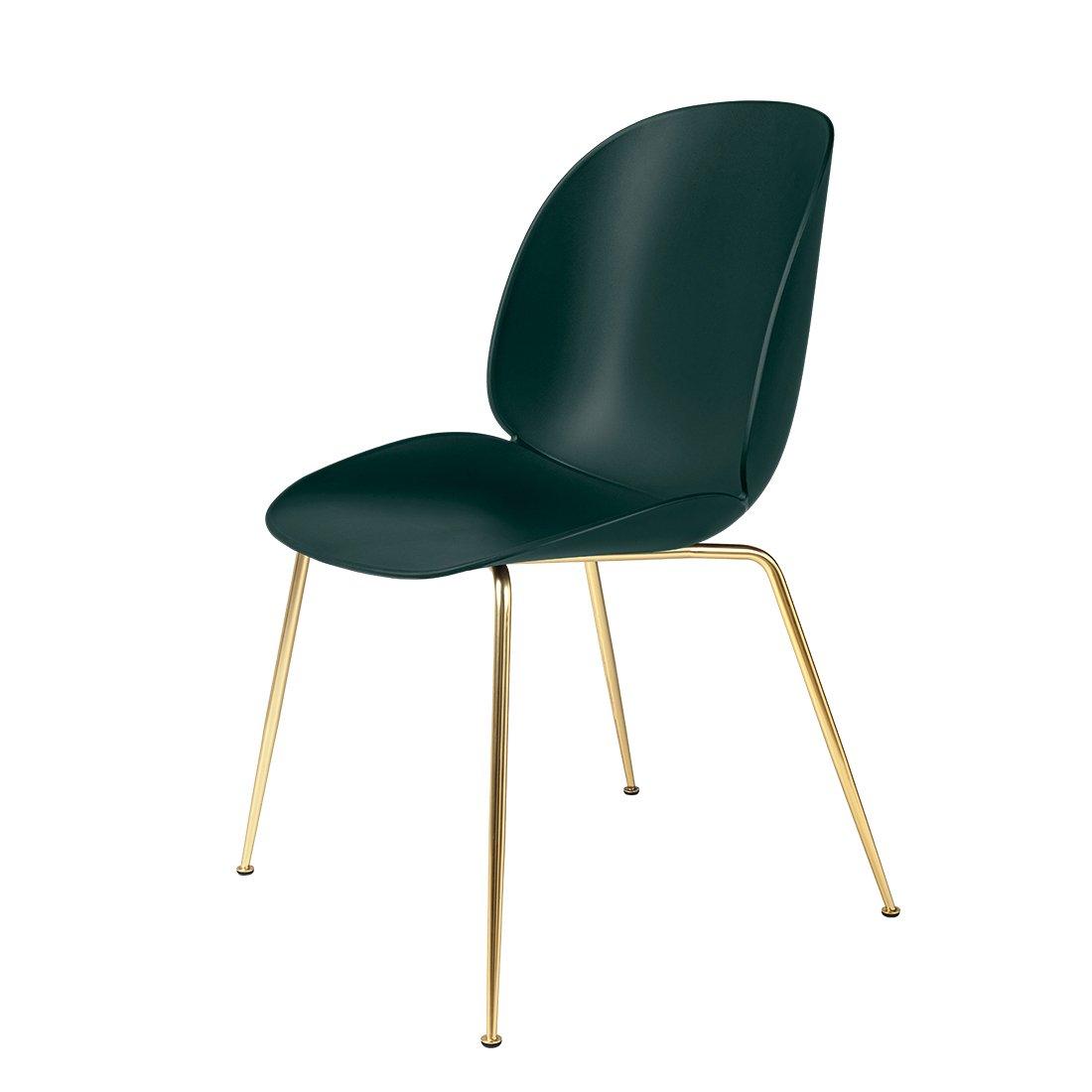 Gubi Beetle Stoel Un-upholstered Brass/Green