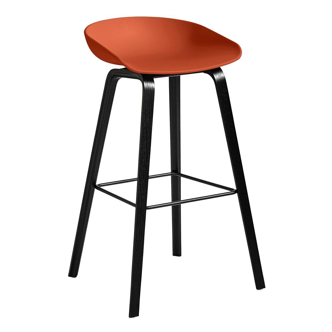HAY About A Stool AAS 32 Barkruk Zwart Gebeitst 74 cm Oranje