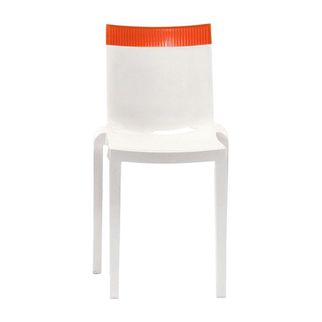 Kartell Hi-Cut Stoel Wit Oranje