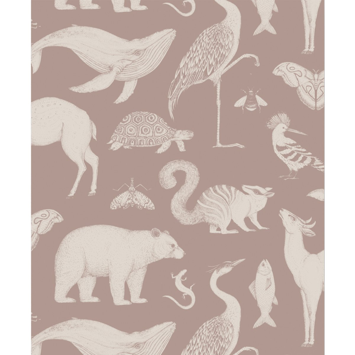 Ferm Living Katie Scott Animals Behang - Dusty Rose
