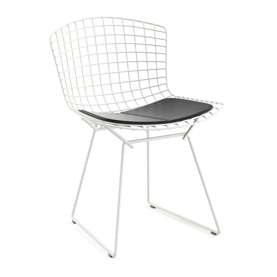 Knoll Bertoia Side Chair Wit - Kussen Vinyl/Zwart