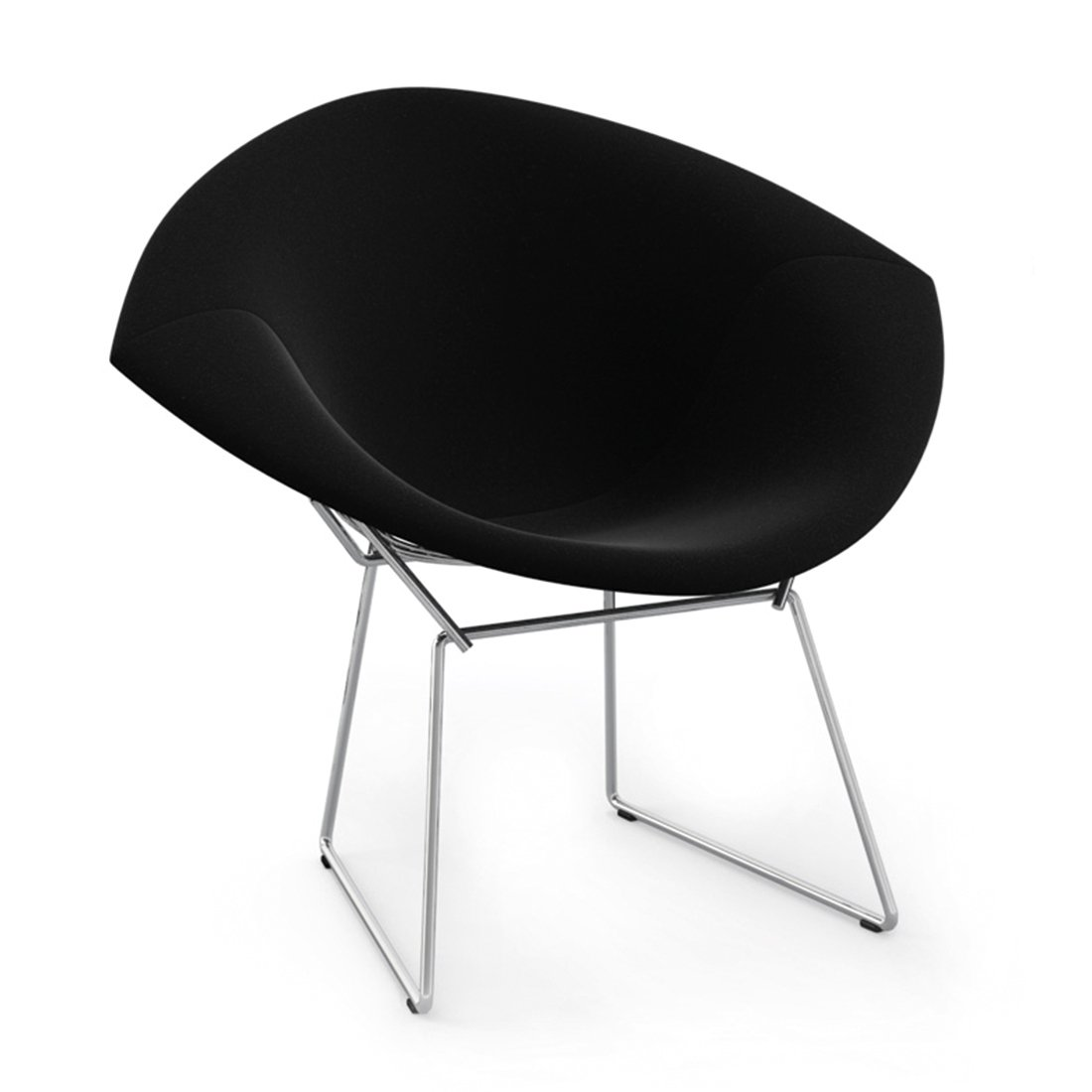 Knoll Diamond Lounge Chair Chroom Full UP - Ultrasuede Black Onyx