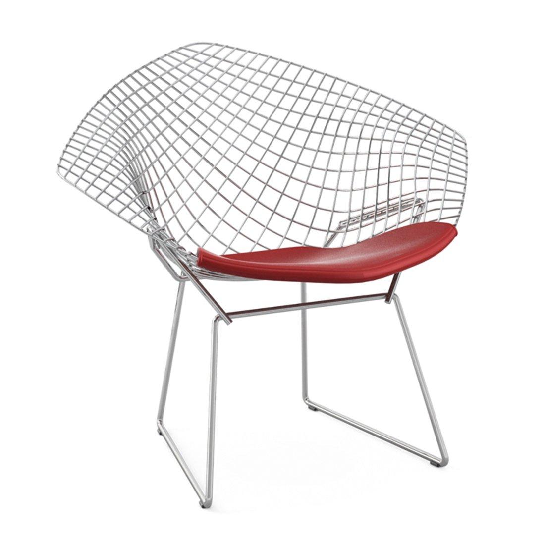 Knoll Diamond Lounge Chair Chroom - Vinyl Rood