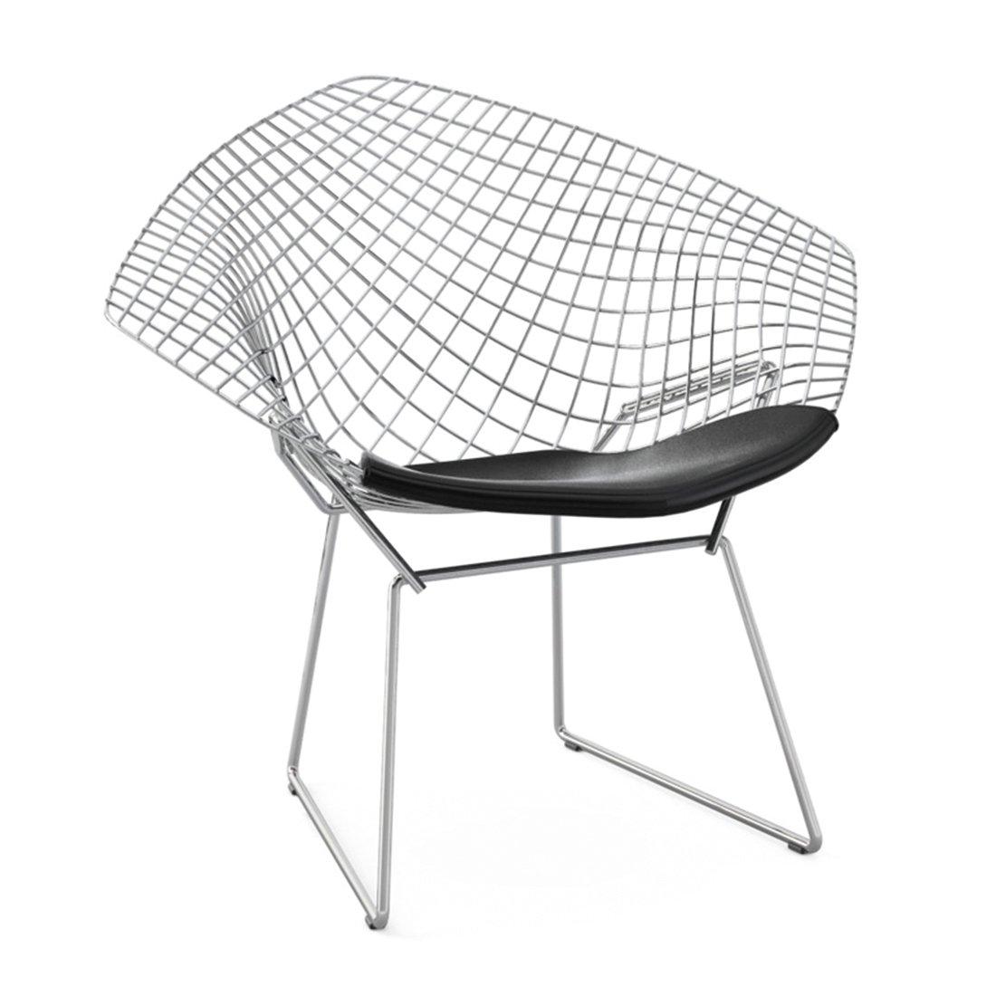 Knoll Diamond Lounge Chair Chroom - Vinyl Zwart