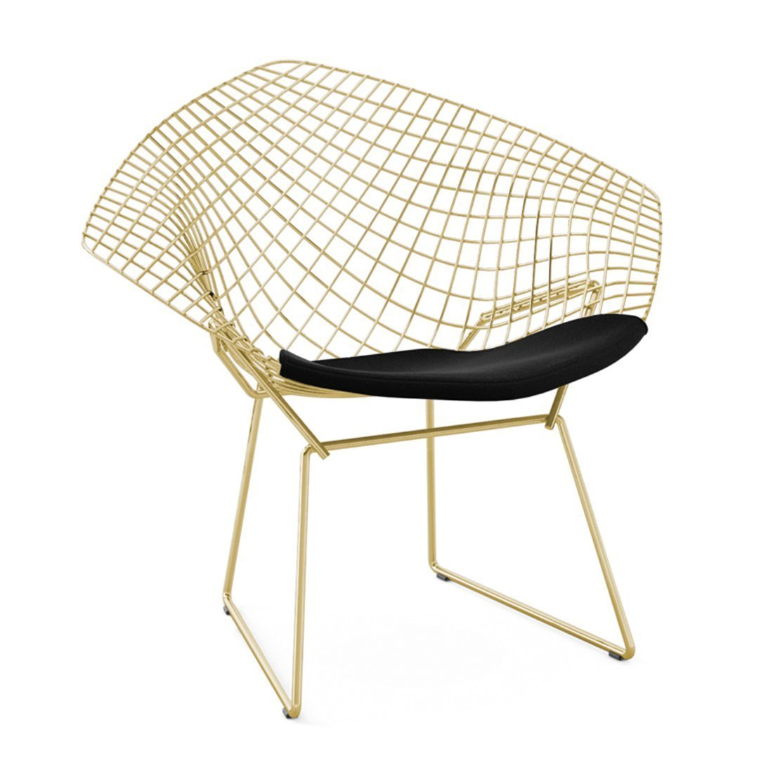 Knoll Diamond Lounge Chair Goud - Ultrasuede Black Onyx
