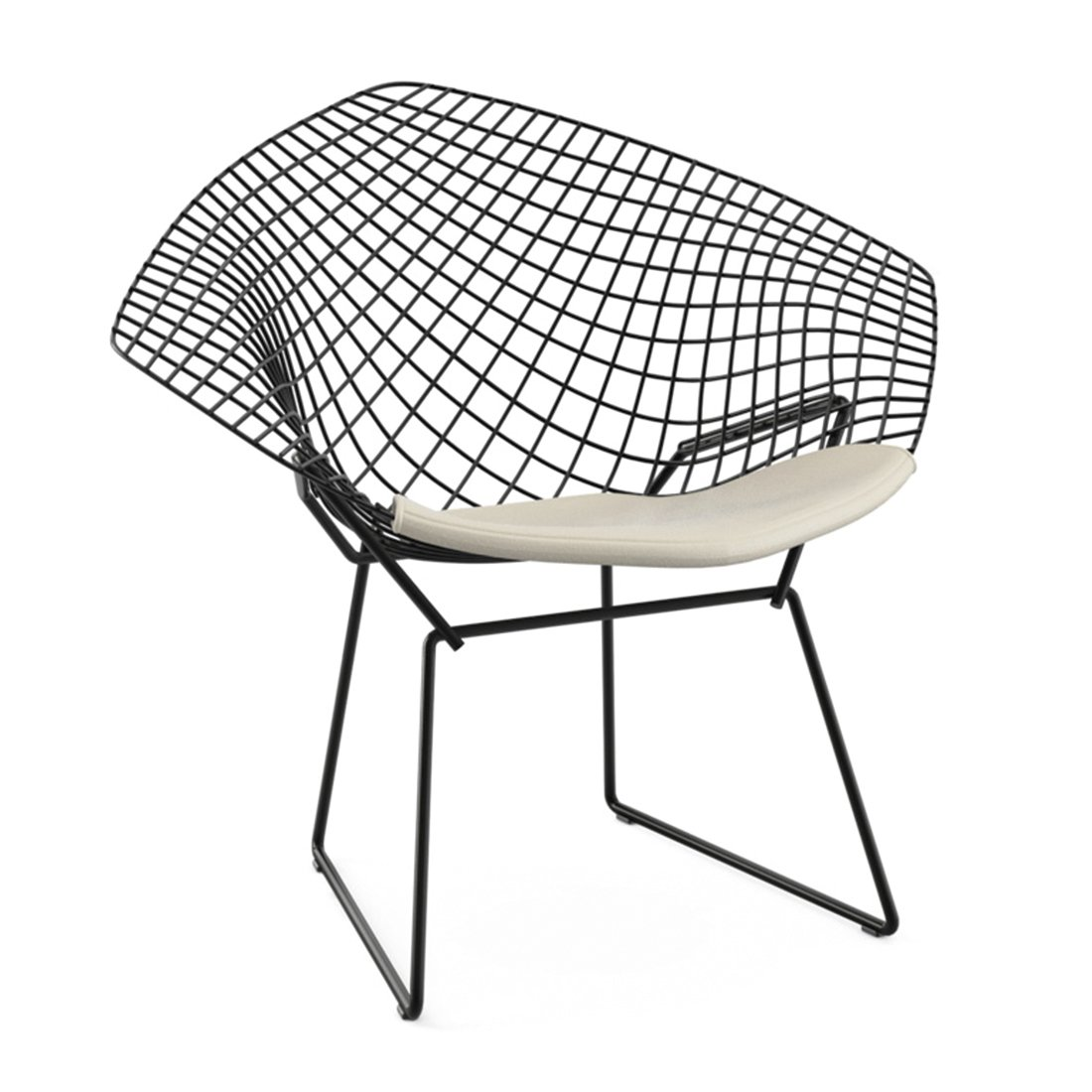 Knoll Diamond Lounge Chair Zwart - Vinyl Wit