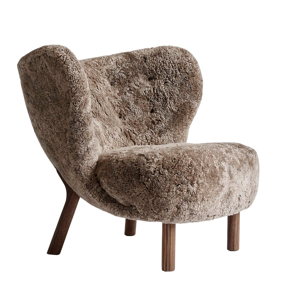 &tradition Little Petra Fauteuil - Sahara Schapenvacht - Walnoot