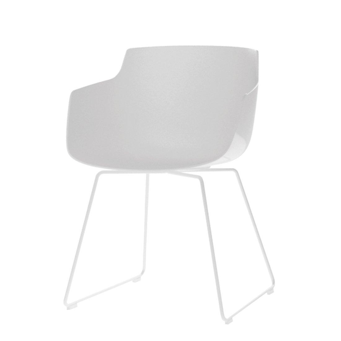 Flow Slim Chair Slede Onderstel Wit - Wit