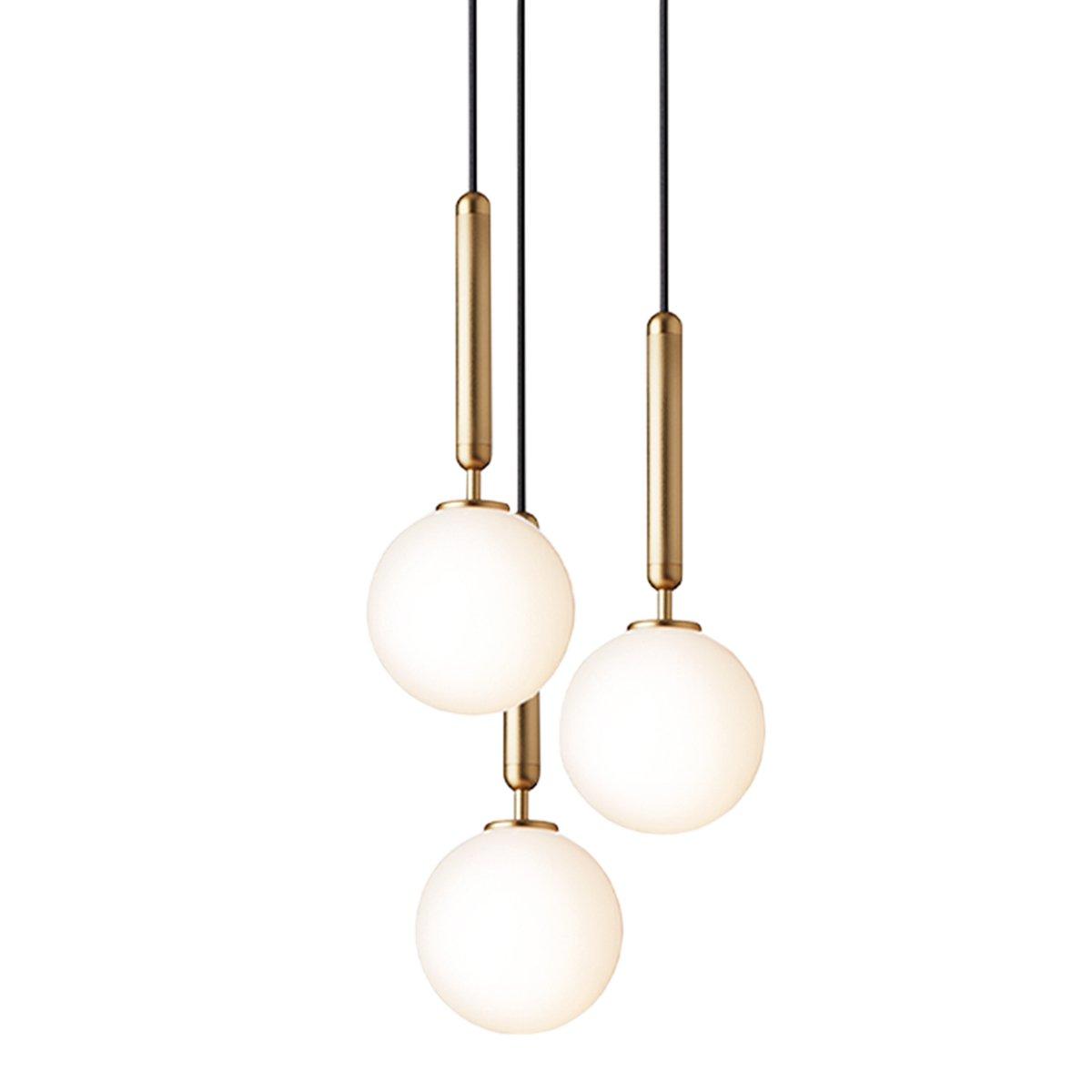 Nuura Miira 3 Hanglamp Medium - Brass / Opal White
