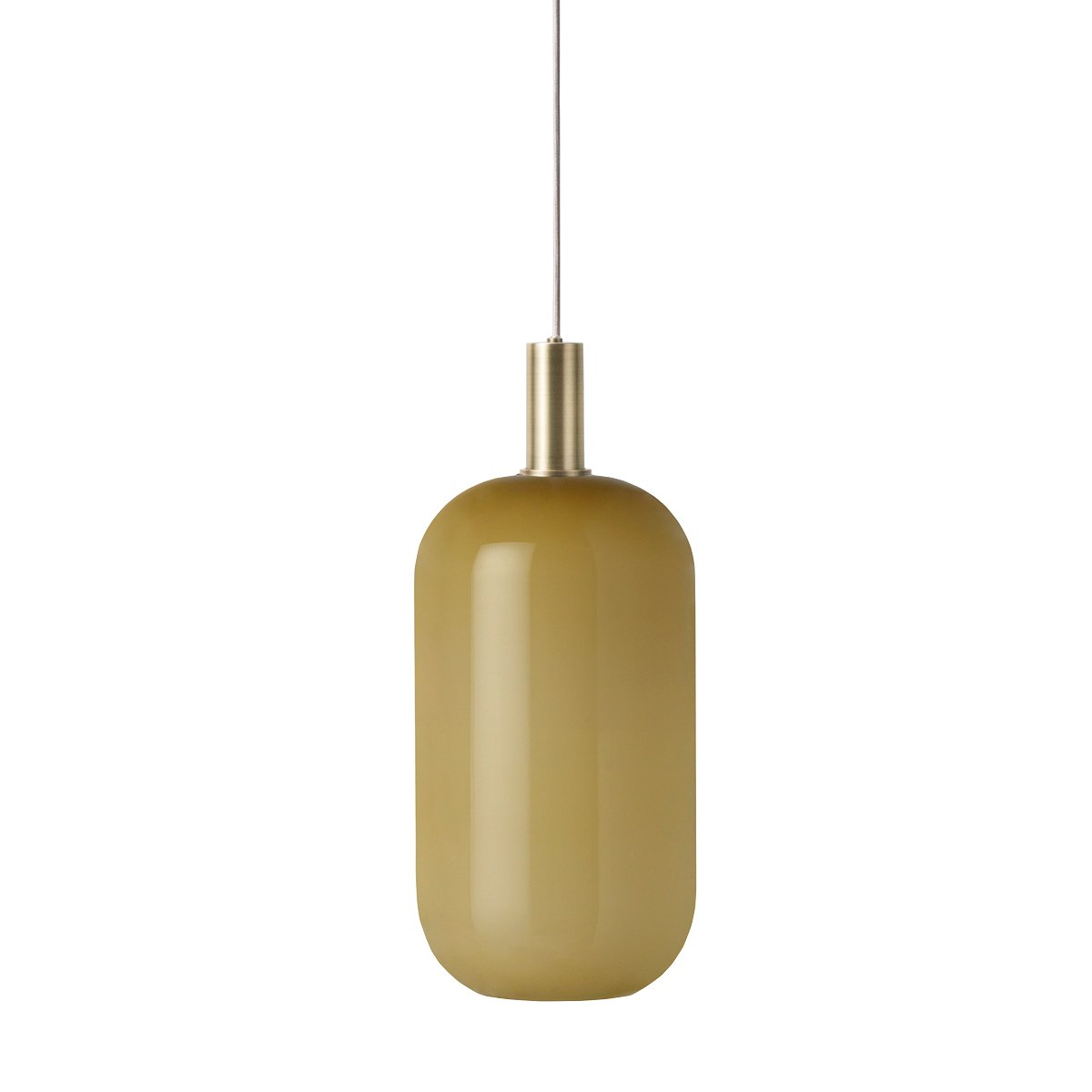 Ferm Living Collect Opal Tall Low Hanglamp - Southern Moss - Messing