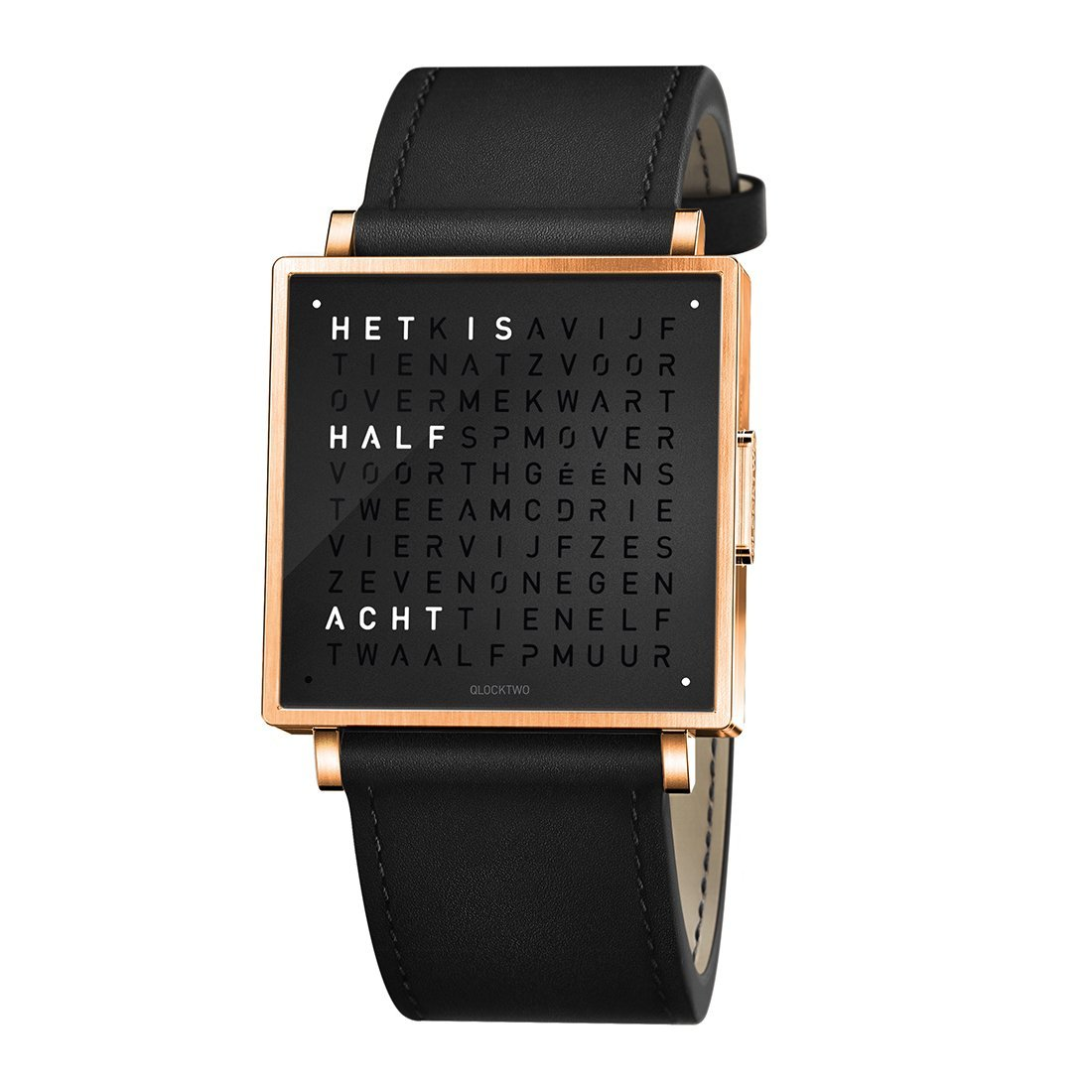 Biegert & Funk Qlocktwo Watch Rose Black W39 - Nederlands