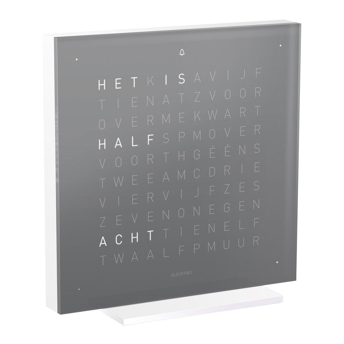 Biegert & Funk Qlocktwo Touch Pure Acryl Tafelklok NL - Early Grey Team
