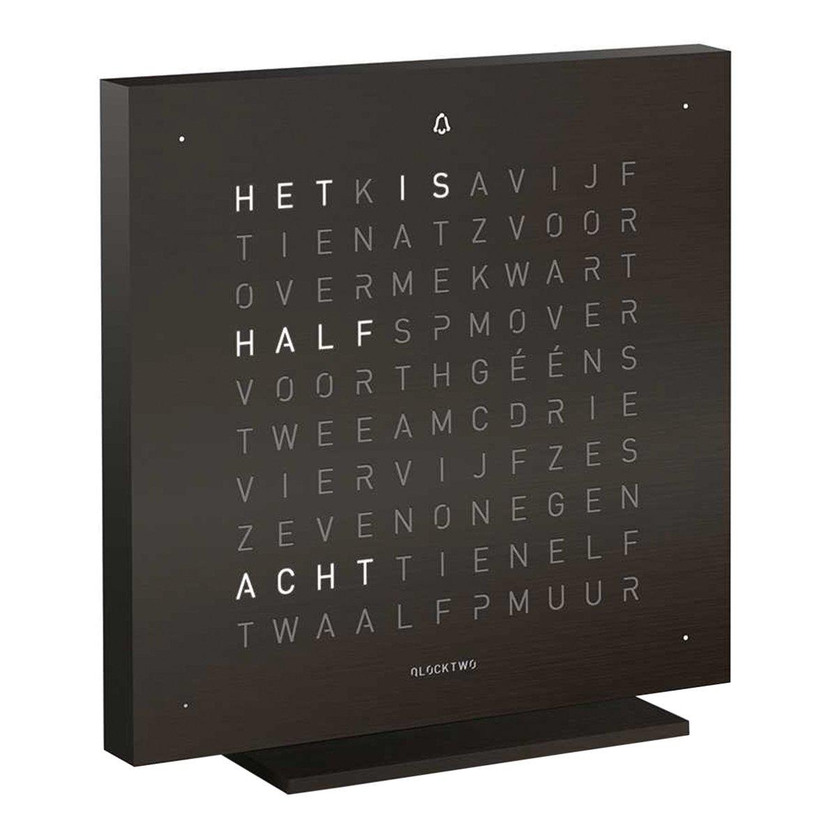 Qlocktwo Touch Metaal Tafelklok Nederlands - Biegert & Funk - Deep Black
